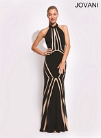 Jovani 89904 Halter Gown with Plunging Back image
