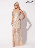 Jovani 89998 Formal Dress with Sheer Bottom image