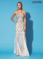 Jovani 90244 Gown with Sheer Illusion Skirt image