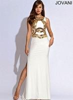 Jovani 90249 Cap Sleeve Jersey Formal Dress image