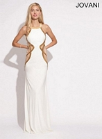 Jovani 90256 Halter Gown with Sheer Panels image