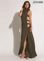 Jovani 90448 Jersey Gown with Side Cut Outs image