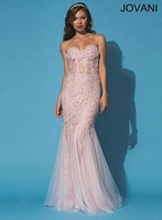 Jovani 90489 Corset Lace and Tulle Gown image