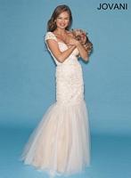 Jovani 90503 Cap Sleeve Lace Mermaid Dress image