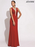 Jovani 90637 Sheer Plunging Neck Jersey Gown image