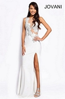 Jovani 90723 Floral Jersey Sheer Gown image