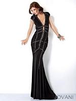 Jovani 9079 Plunging Neck Jersey Formal Dress image