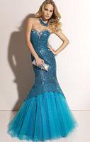 Paparazzi Mermaid Prom Gown with Tulle 91003 by Mori Lee image