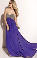Paparazzi Beaded Chiffon Long Prom Dress 91006 by Mori Lee image