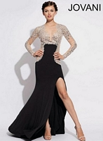 Jovani 91033 Sheer Long Sleeve Jersey Gown image