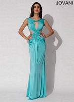 Jovani 91057 Sexy Plunging Neck Jersey Gown image