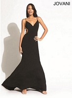 Jovani 91284 Jersey Gown with Gold Chain Trim image