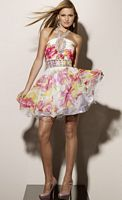 Sticks and Stones Short Floral Print Prom Dress 9175 by Mori Lee image