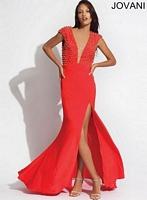 Jovani 92083 Studded Jersey Formal Dress image
