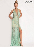 Jovani 92358 Plunging Neck Lace Gown image