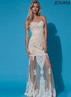 Jovani 92368 Formal Dress with Lace Applique image