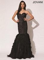 Jovani 92526 Feather Mermaid Dress image