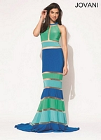 Jovani 92642 Halter Jersey Formal Dress image