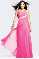 Faviana One Shoulder Beaded Chiffon Plus Size Prom Dress 9266 image