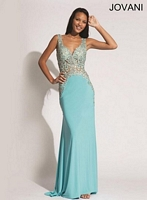 Jovani 92661 Embroidered Jersey Gown image