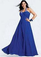 Faviana Plus Size Royal Blue Halter Prom Dress 9227 image
