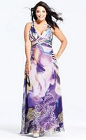 Faviana Plus Size Purple Animal Print Prom Dress 9268 image