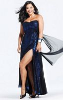 Faviana Black Royal Sequin Plus Size Prom Dress with Mesh 9276 image