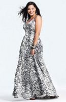 Faviana Silver Black Metallic Print Plus Size Prom Dress 9277 image