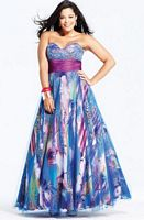 Faviana Plum Royal Animal Print Plus Size Ball Gown 9282 image