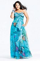Faviana Aqua Print Chiffon Plus Size Prom Dress 9283 image