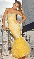 Blush Prom Sexy Ruffle Stretch Taffeta Tulle Evening Dress 9300 image
