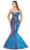 Blush Prom Iridescent Royal Mermaid Dress with Feathers 9318 image