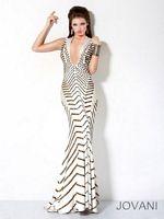 Jovani Gold Studded Deep V Neck Mermaid Dress 9420 image