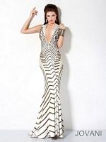 Jovani 9420 Studded Deep V Mermaid Dress image