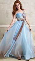 Terani Blue and Brown One Shoulder Prom Dress 95013P image