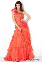 Jovani One Strap Prom Dress with Rosettes 9588 image