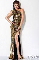 Jovani Gold Black Shimmery Evening Dress with Ruffle 9614 image