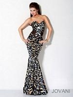 Jovani 9623 Silk Mermaid Dress with Animal Print image
