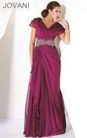 Jovani Cap Sleeve Tiered V Neck Evening Dress 9666 image