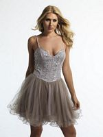 Size 6 Taupe Dave and Johnny 9669 Short Dress image