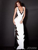 Jovani Deep V Neck Formal Dress with Lace 9803 image