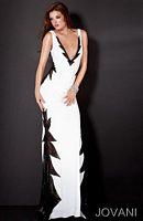 Jovani Deep V Lace Cutout Prom Dress 9803 image
