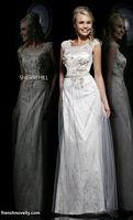 Size 12 Nude Sherri Hill 9812 Cap Sleeve Sheer Long Dress image