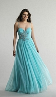 Size 6 Aqua Dave and Johnny 9879 Evening Dress with Ruching image
