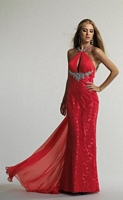 Size 12 Watermelon Dave and Johnny 9898 Choker Keyhole Formal Dress image
