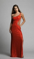 Size 6 Orange Dave and Johnny 9942 One Shoulder Illusion Gown image