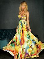 Evenings by Allure Bright Print Accordian Pleated Prom Dress A308 image
