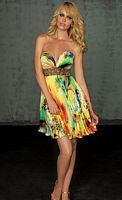 Evenings by Allure Bright Print Short Pleated Prom Dress A308S image
