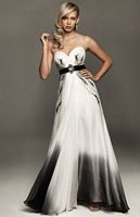 White and Black Ombre Chiffon Evenings by Allure Gown A403 image