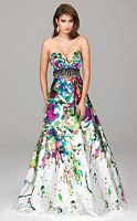 Evenings by Allure Bold Splash Print Prom Dress A503 image